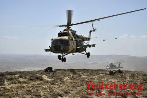 """""""TurAZ Qartalı - 2020"""" təlimləri helikopterlərin iştirakı ilə davam edir -"""