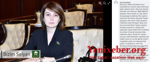 """""""Salyanın deputatı Jalə Əhmədova seçiciləri təhdid və şantaj edir"""" -"""